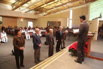 김남순, 김수영, 양기진, 조점선, 팽소주 (가나다순) 이상 다섯 분을 본 교회 헌장에 따라 명예집사로 임명